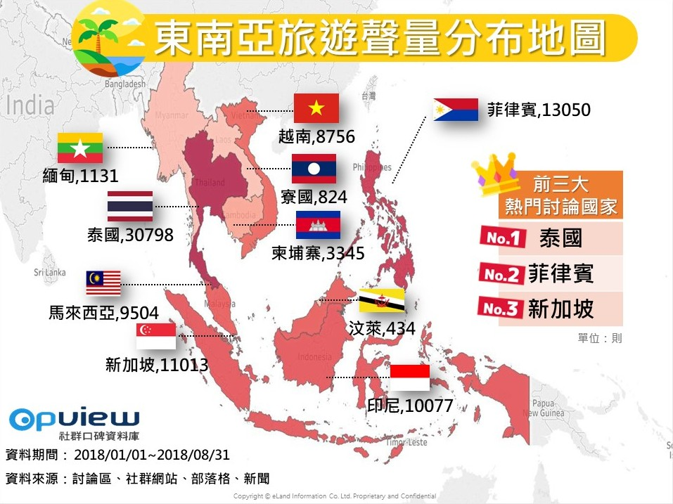 OpView輿情聲量分析_東南亞旅遊聲量分布地圖