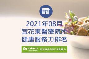 08月宜花東地區醫院健康服務力排行榜評析