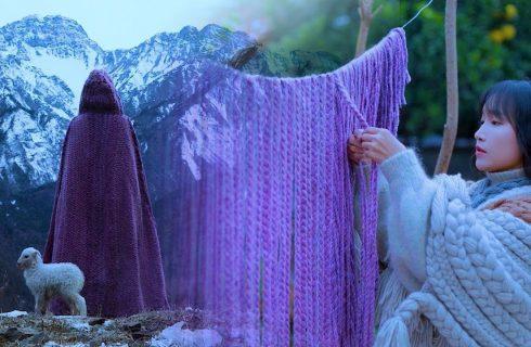 【李子柒】超療癒!自織羊羔毛斗蓬,溫暖過寒冬